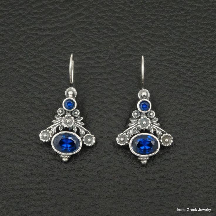 BLUE SAPPHIRE CZ BYZANTINE STYLE 925 STERLING SILVER GREEK HANDMADE ART EARRINGS #IreneGreekJewelry #DropDangle