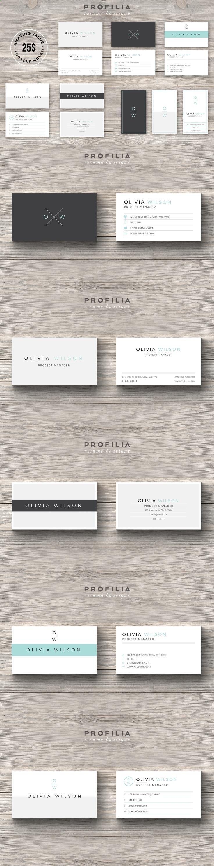 Businesscard Design From Profilia Resume Boutique Download Creativemarket Co Modern Business Cards Business Card Template Cool Business Cards