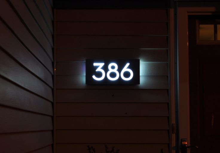 LED ADDRESS SIGN ---------------------------- Trying to read address numbers can be especially difficult at night. Make it is easy for guests, delivery person or emergency services to find your home in the dark. This LED back lit address sign features a built-in light sensor that turns the sign on automatically with numbers that are matte black during the day and glow white at night. This listing is for a sign with 5 numbers. Each sign is custom made from acrylic, aluminum and aluminum…