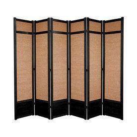Oriental Furniture Jute 6 Panel Black Folding Indoor Privacy Screen