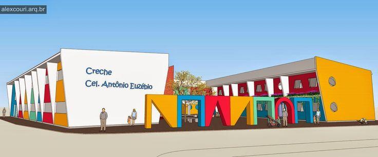 Projeto para escola pública municipal. A ideia foi criar o edifício ao redor de um pátio aberto com jardins térreos e suspensos junto a el...