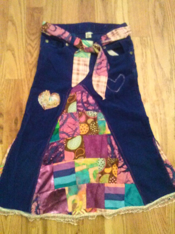ON SALE Heartwood Patchwork Skirt by HeadiesFlowerPatch on Etsy, $20.00