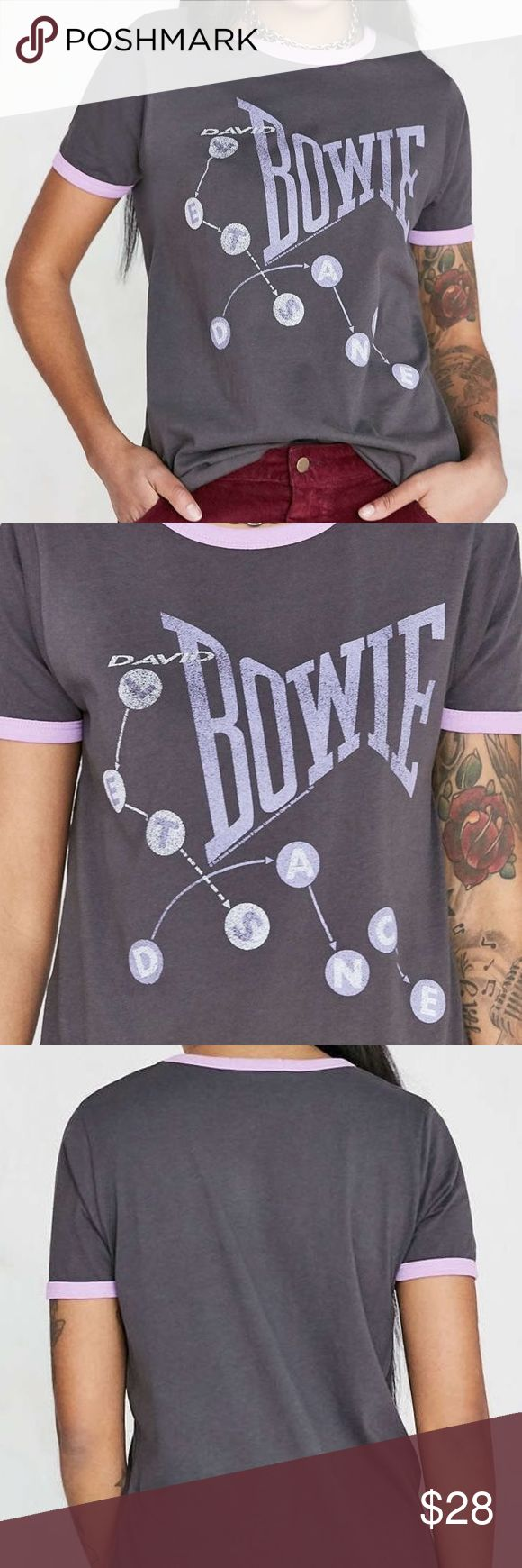 Junk Food T Shirt Classic Rock - David Bowie XS S Style: David Bowie classic rock ringer tee   Color: Vintage Washed Black  SOLD OUT EVERYWHERE! Junk Food Clothing Tops Tees - Short Sleeve