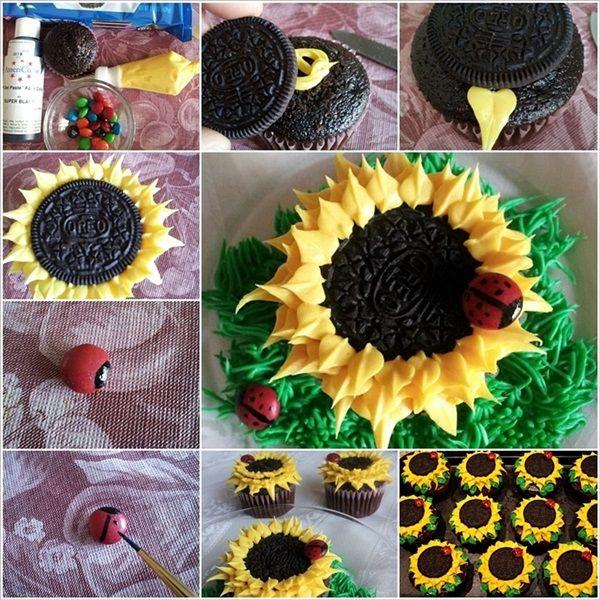 DIY Awesome Oreo Sunflower and Chocolate Ladybug Cupcakes #Cupcake #Cake #Ladybug #Food