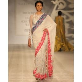 Ivory Sari with Coral Red Floral Border