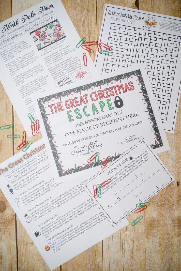 graphic about Free Printable Escape Room Game identify Xmas Escape Space (Functions, Trivia Puzzle Game titles for