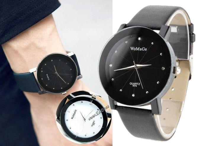Zegarek Retro skórzany pasek Japan Style Swarovski EdiBazzar