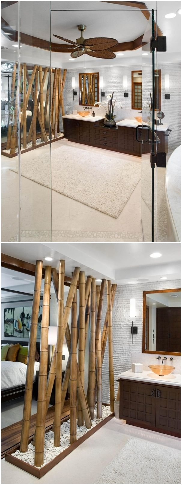 Uses for bamboo around the house - A Pebble and Bamboo Divider Between a Master Bedroom and a Bathroom