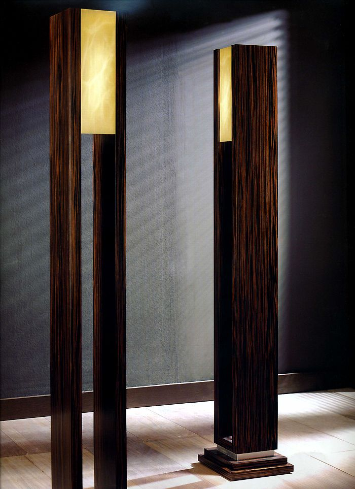 LA MACASSAR FLOOR LAMP - MACASSAR EBONY FLOOR LAMP WITH ALABASTER SHADE AND SILVERLEAF DETAIL LARGE IMAGE