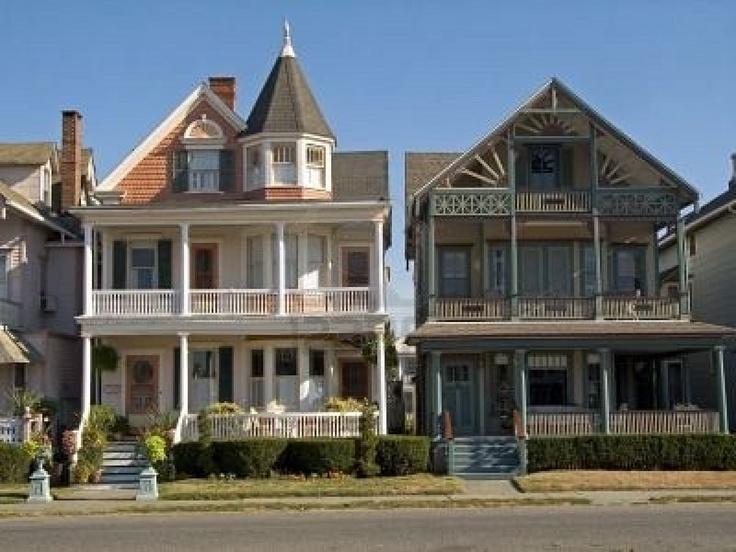 Dit is een shot van enkele typische Victoriaanse huizen in Ocean Grove NJ. Stockfoto