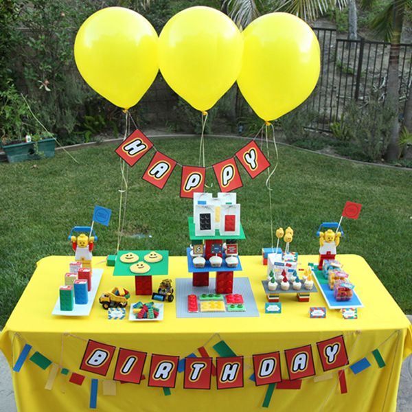 lego themed birthday: Birthday Banners, Birthday Parties, Lego Parties, Lego Birthday, Lego Inspiration, Parties Ideas, Lego Party'S, Desserts Tables, Birthday Ideas