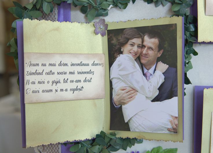 Seating chart detail - a photo of the bride & the groom and some lyrics from one of their favorite songs