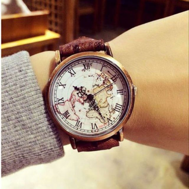 vintage roman numbers dial earth watch map leather wrist watch women men gifts
