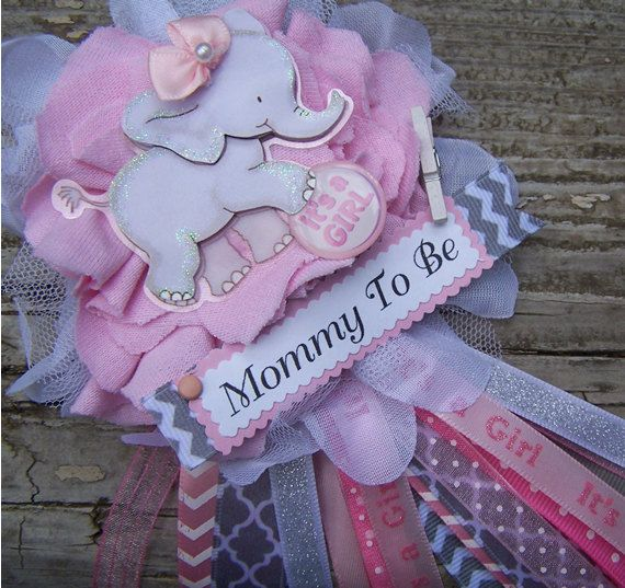 Pink Elephant Mom To Be Corsage Pink and Gray by BloomingParty, $18.00
