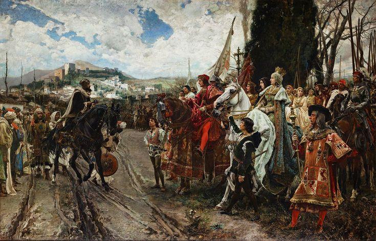 Boabdil, rey de Granada, rinde la ciudad a los Reyes Católicos. Termina así la Guerra de la Reconquista.