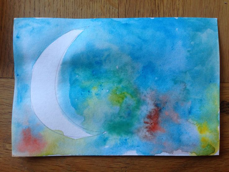 Day 41: moon  In a watercolour sky