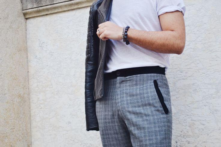 Details.... T-Shirt: H&M; Pants: Salvatore Ferragamo; Leather Jacket: H&M
