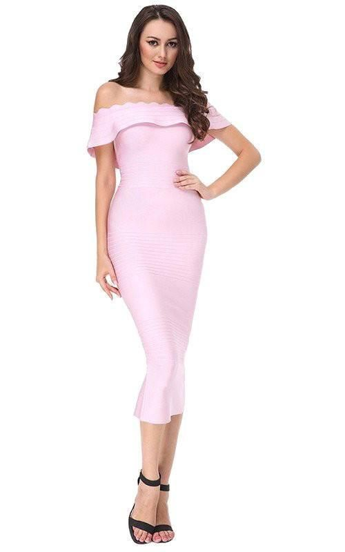 74f6c37b7b Light Pink Off Shoulder Midi Bandage Dress in 2019