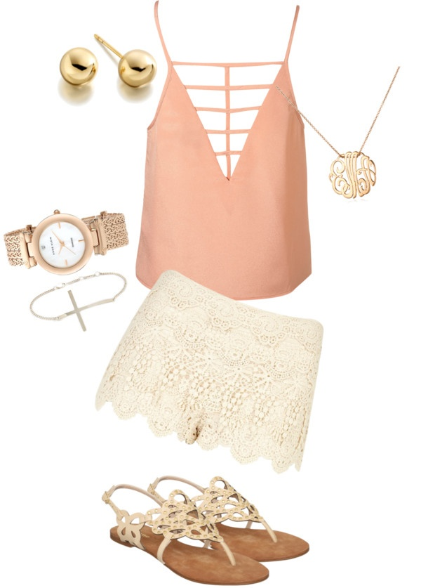 Salmon touch: Women Fashion, Summer Fashion, Summer Fling, Shirts, Summer Style, Cute Summer Outfit, Coral Outfit, Lace Shorts, Summer Clothing