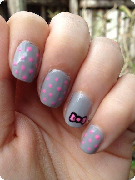 Ribbons & Lace: Pink & Grey Mani!: Nails Nails, Grey Nails, Polka Dots, Nails Porn, Style, Ribbons, Pink Grey, Grey Mani, Hair