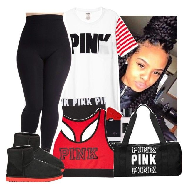 """""""Pink lover"""" by princess-216 ❤ liked on Polyvore featuring Victoria's Secret, Forever 21, Victoria's Secret PINK, UGG Australia and plus size clothing"""