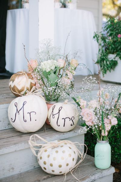Pumpkin decor: http://www.stylemepretty.com/little-black-book-blog/2015/04/03/rustic-elegant-vine-hill-house-wedding/ | Photography: This Love of Yours - http://thisloveofyours.com/