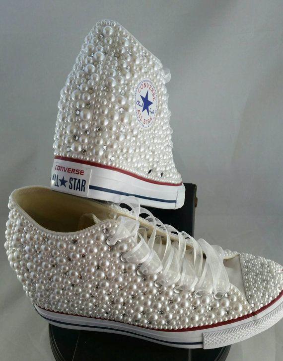 Pearls & Bling Bridal Wedge Custom Converse Pearls by DivineKidz
