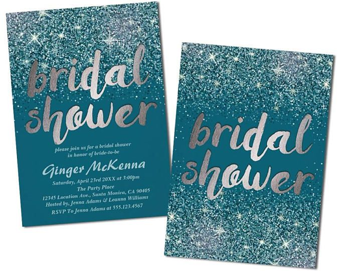 Modern, Silver & Teal Bridal Shower Invitations