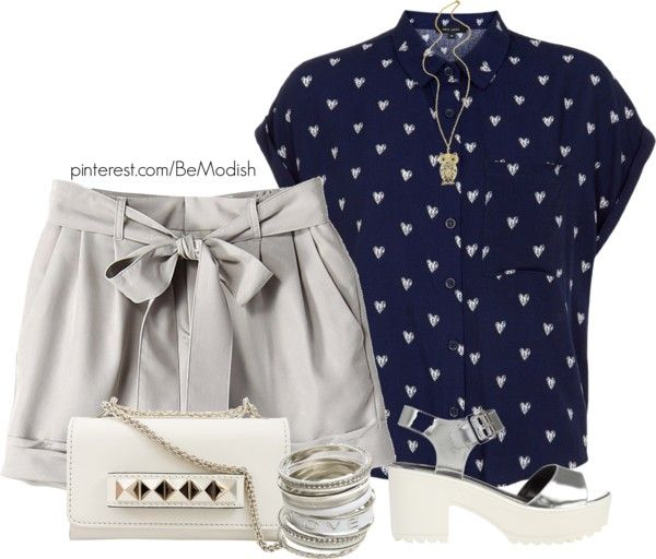 navy blue blouse with grey shorts