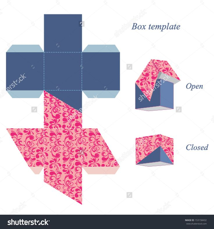 Interesting square box template with lid, floral pattern. Vector illustration.