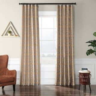 Exclusive Fabrics Firenze Silver & Gold Flocked Faux Silk Curtain (84 Inches), Multicolor