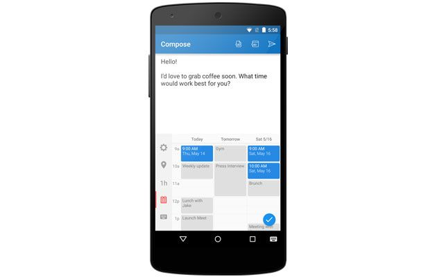 Sunrise calendar app tweaks your keyboard for easy scheduling