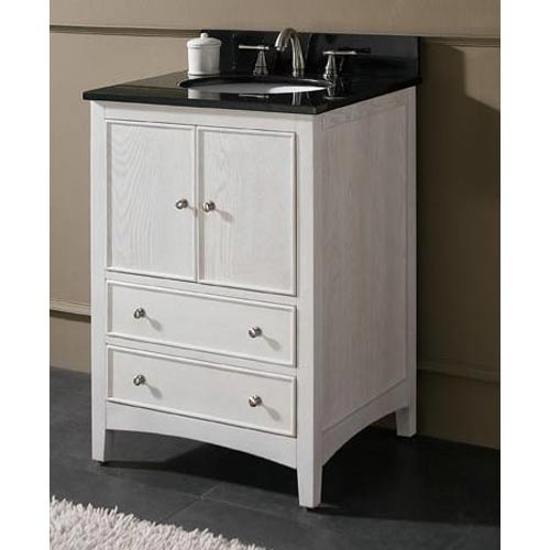 Westwood 24 Inch White Washed Vanity With Black Granite