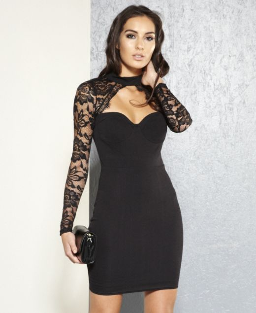 Emma High Neck Lace Dress with Sweetheart Plunge