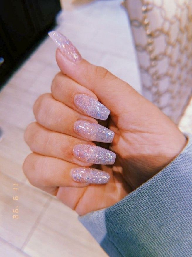 64 Most Popular Acrylic Nail Designs You Must Try Baby Wolrd Glitter Nails Acrylic Clear Glitter Nails Pretty Acrylic Nails