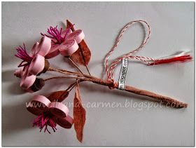 Quilling 3d - Blooming Branch with Pink Flowers .