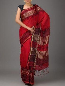 Red Jamdani Matka Silk by Vastra Kuttimm from Jaypore.com