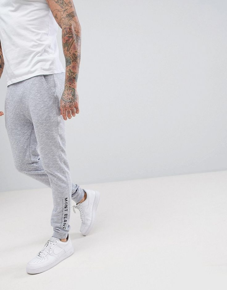 ASOS Skinny Jogger In Nep Fabric With Leg Print - Gray