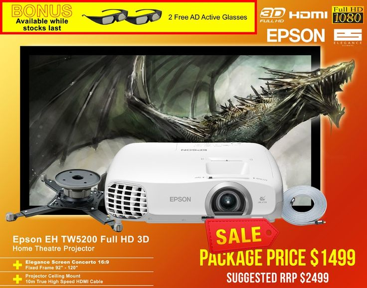 Epson EH-TW5200 3D Full HD 3LCD Projector with Elegance Screen Home Cinema And Gaming Package