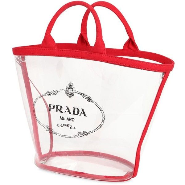 22f88aac2793 Prada Women Logo Print Pvc Tote Bag W  Canvas Pouch (6
