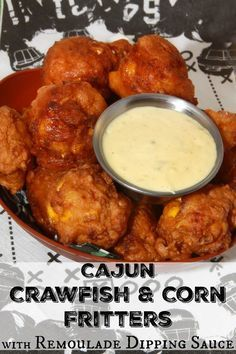 Cajun Crawfish and Corn Fritters with Remoulade Dipping Sauce - a spicy appetizer for game day! #foodiefootballfans