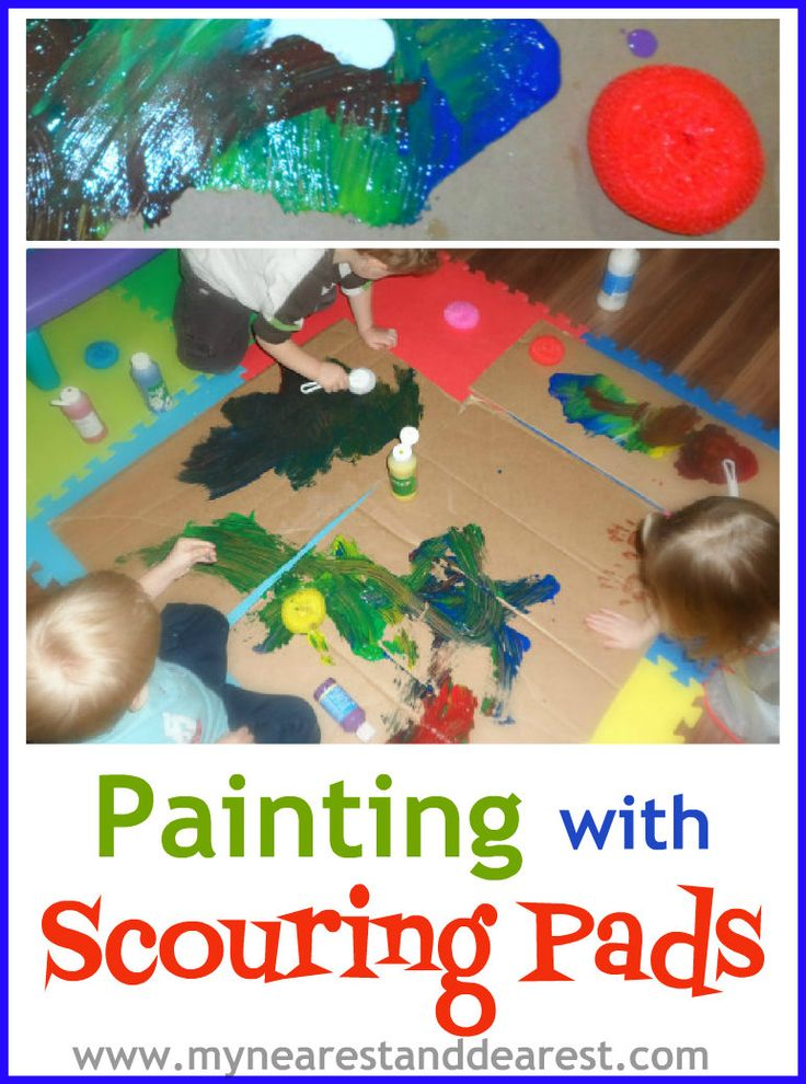 Painting with scouring pads. Try a new painting tool with your toddler and paint just for the sake of painting!