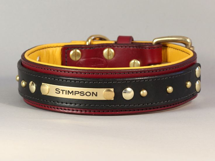 custom leather dog collar with nameplate