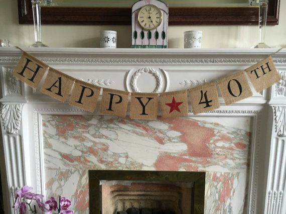 Banner HAPPY 40th with red star decoration by FreshwellsDesigns