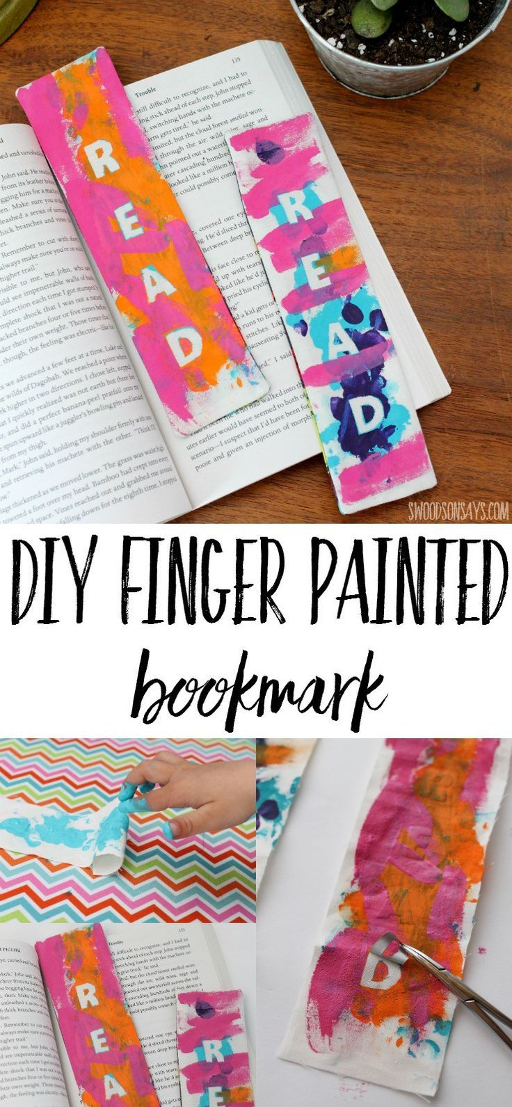 Looking for a gift to make with kids that will actually be used? This finger painted bookmark tutorial is a simple sewing project for beginners, but is fun to paint, too! Looking for a gift to make with kids that will actually be used? This finger painted