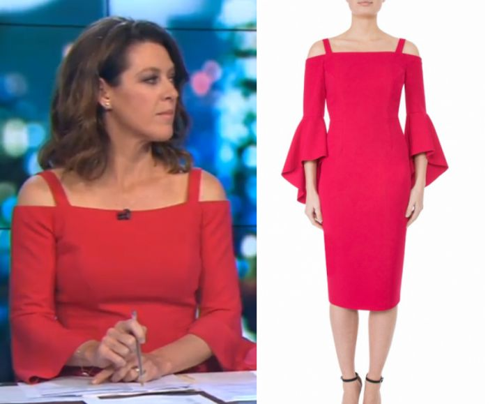 by Kirsty0 Comments Gorgi Coghlan wears this pink shoulder cut out midi dress in this episode of The Project on Friday the 17th of November 2017. It is the Anthea Crawford Raspberry Crepe Dress. Buy it HERE or HERE for $599.00