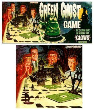 I had this game when I was a kid!  The pieces were sooooo cooool - and most glowed in the dark!  The green ghost was the spinner - I loved this game! What a fun memory!!