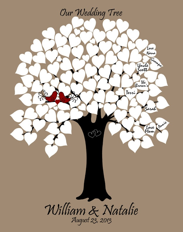 11x14 personalized wedding tree guest book 90 white