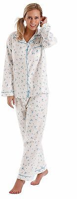 Womens Lady Olga Wynceyette 100% Brushed Cotton Long Sleeve Pyjama Nightwear Pjs