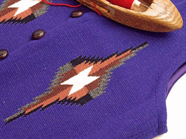 オルテガ 手織りチマヨ・ベスト 83RG-36287 サイズ36 パープル アメリカ製